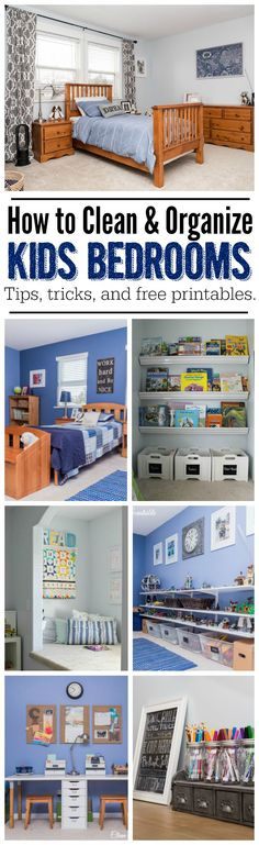 How to Organize Kids Bedrooms - Lots of tips and ideas to get you started and free printables included! Part of The Household Organization Diet. by penny Kids Bedroom Organization, Household Organization, Organization Ideas, Clean Bedroom, Bedroom Cleaning, Kid Spaces, My New Room, Home Interior, Boy Room