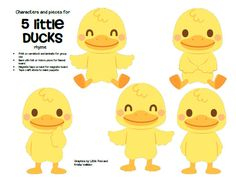 ***FREE*** Characters and pieces for 5 Little Ducks went Out One Day rhyme in color and b/w. Use for group teaching and individual activity. 4 pages.