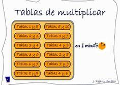 """""""Tablas de multiplicar en 1 minuto"""" es un juego que sirve para afianzar el conocimiento de la tabla de multiplicar. En un minuto te propone acertar una serie de multiplicaciones correspondientes a dos tablas (Por ejemplo, la del 6 y la del 8), eligiendo entre todos los reultados posibles que se muestran en pantalla."""