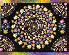 "Original hand painted Mandala, dot art, dot painting ""Pale Doilies Mandala"" colourful wall art #44"