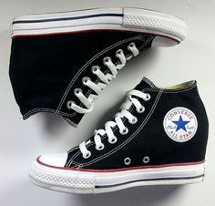 9552c99953 Converse 7 Chuck Taylor All Star Black Platform Wedge Hightops  EXCELLENT   Sz 7