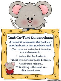 A Free Set Of Making Connections Anchor Charts:  ~Text-To-Self  ~Text-To-Text  ~Text-To-World