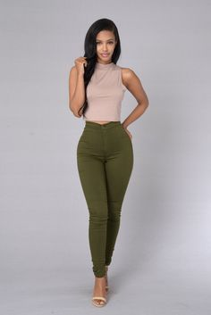 Super High Waist Denim Skinnies - Olive