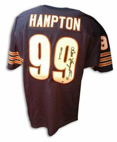 """Dan Hampton Hand Signed Bears """"HOF 2002"""" Throwback Jersey . $310.65. Dan Hampton Hand Signed Chicago Bears Throwback Blue Jersey Inscribed """"HOF 2002"""". Comes with a certificate of authenticity from Athletic Promotional Events."""