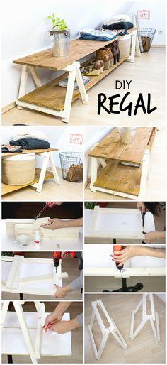 Möbel selber bauen: Dieses Regal ist einfach zu machen und eignet sich super für Schuhe oder unter Dachschrägen. Du brauchst nur eine Stichsäge und einen Akkuschrauber. Regal mit Miniklappböcken