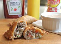 Cheeseburger Empanadas. Look easy and good!  I see many possibilities using these Goya empanada wraps.  Taco meat or Pork Carnitas, or Chicken? yum!