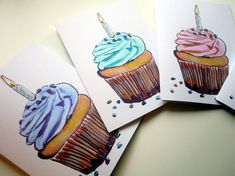 #handmade cards #happy birthday #cupcakes Cupcake with Candle Birthday Cards Set Watercolor Art by jojolarue