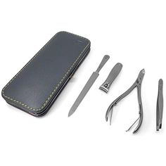 GERManikure matte stainless steel manicure set in grey leather frame case >>> Find out more about the great product at the image link. (This is an affiliate link) Skin Roller, Manicure Set, Grey Leather, Nail Care, Zip Around Wallet, Image Link, Stainless Steel, Tools, Frame