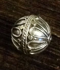 2 Sterling Silver Beads - Large Round Bali Flower MB107