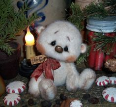 "Primitive Christmas Frosty Polar Teddy Bear 5"" Doll Vtg Patti's Ratties Snowman"