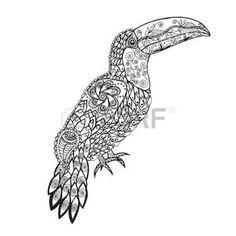 zentangle: Birds. Mano blanco y negro dibujado garabato. Adulto página para colorear antiestrés étnico ilustración vectorial patrón. Africana,, tótem, diseño tribal indio. Boceto para el tatuaje, el cartel, la impresión o la camiseta.