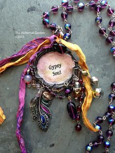 Purple, Pink & Gold Gypsy Soul pendant necklace - vintage, repurposed, handcrafted, woodland, fantasy, boho, festival, renn faire, gypsysoul