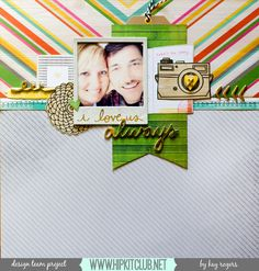 The Hip Kit Club Monthly Scrapbook Kit Club offers the best monthly Embellishment, Paper, Cardstock, Project Life and Color Scrapbook Kits! Scrapbooking Layouts, Scrapbook Pages, Amy Tangerine, Single Pic, Hip Kit Club, Photo Layouts, Layout Inspiration, Smash Book, 4 Life