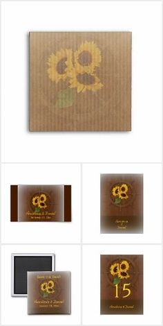 Sunflower Rustic Brown and yellow Country Wedding stationery set