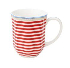 "Coffee mug, ""Happy"". Porcelain by Lisbeth Dahl Copenhagen. Spring/summer 2014. #LisbethDahlCph #porcelain #red #stripes #coffee #mug"