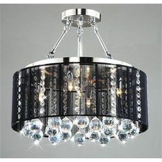 Black Drum Shade Chrome Crystal Ceiling Chandelier Pendant Fixture Lighting Lamp | eBay