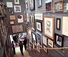 Club Monaco store in Toronto gallery wall/stairway combo