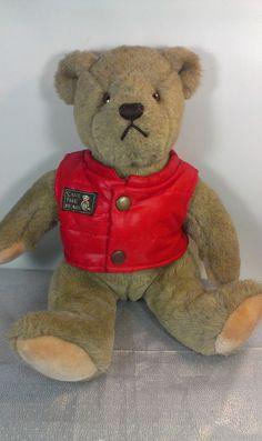 "Gund Bialosky Brown Teddy Bear Stuffed Animal Plush Save the Bears Red Vest 14""  #GUND"