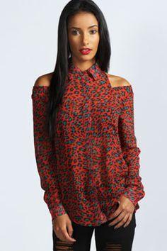 Milly Leopard Print Cold Shoulder Shirt at boohoo.com