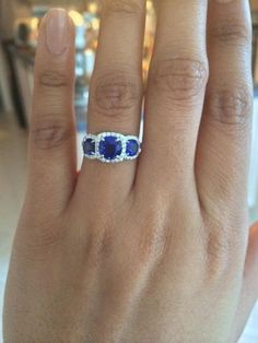 3 stone sapphire diamond halo by Joe Escobar