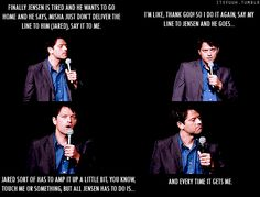 Gif supernatural misha Collins talking about Jared Padeleki and Jensen Ackles. Castiel Sam and Dean Winchester. what makes him crack during a scene xP