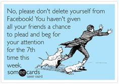 Sarcastic funnies – Many of us need & manage to temperate our deepest and most obvious thoughts on a daily basis in order to maintain a certain level . Delete Facebook, Facebook Humor, I Love To Laugh, Make You Smile, Sarcastic Humor, Sarcasm, Belly Laughs, E Cards, Someecards