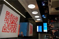 Qube Code  Mitsubishi used 2 giant QR code cubes hanging over their stand at this year's Integrated Systems Europe trade show in Amsterdam.