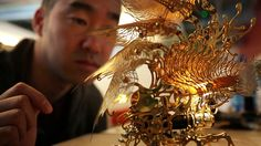 """P9 Artist Profile: U-Ram Choe. Kinetic art in the form of """"insect"""" lamps."""