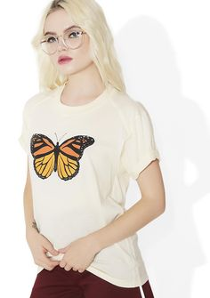 Camp Collection Butterfly Tee cuz you give us butterflies inside, babe. This adorable graphic t-shirt features raglan sleeves with piping details, rolled tacked sleeves, and a screen print of a monarch butterfly.