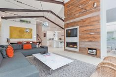 Fantastic use of original timber in feature wall