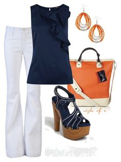 """""""Navy and Orange"""" by styleofe ❤ liked on Polyvore featuring Diane Von Furstenberg, James Jeans, Oasis, Jessica Simpson and Old Navy"""