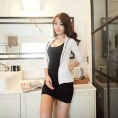 Women Stretchy Camisole Spaghetti Strap Long Tank Top Slip Mini Dress Qp
