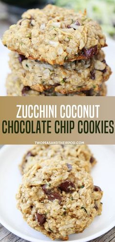 Zucchini Coconut Chocolate Chip Cookies are one of my all-time favorite cookies! They are perfect during the summer months when zucchini is in season, but we make them year-round because they are so good! Köstliche Desserts, Delicious Desserts, Dessert Recipes, Yummy Food, Zucchini Desserts, Easy Cookie Recipes, Sweet Recipes, Baking Recipes, Easy Recipes