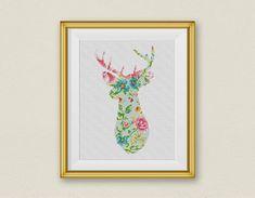 Flower Deer Cross Stitch Pattern