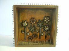 Mixed Media Assemblage Shadow Box by rustybuttonstudio on Etsy, $65.00