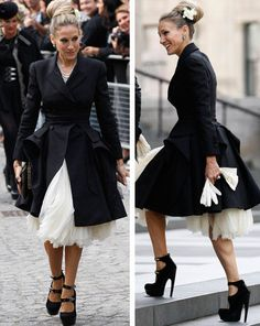 Sarah Jessica Parker. Wow at the dress, shoes and coat.