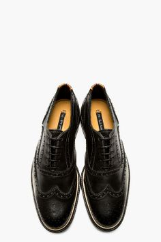 PS PAUL SMITH Black Leather Knight Quarter Brogues