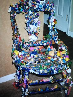 """My infamous """"Trinket Chair""""~Just take everything you would vacuum up and glue it to a chair instead!"""