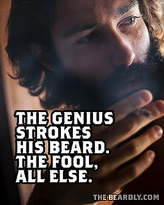 The genius strokes his beard, the fool all else