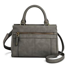 b1eed360e893 Women s Solid Satchel Faux Leather Handbag with Zipper Pockets Grey -  Merona™   Target