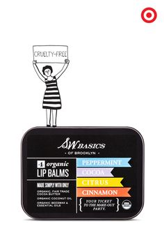 S.W. Basics of Brooklyn lip balm is made with simple ingredients like cocoa butter, beeswax, coconut oil, and delicately scented with pure essential oils. Each one is organic and vegan, so they're free of synthetic chemicals and genetically engineered organisms. Made to Matter, handpicked by Target, truly is a beautiful thing.