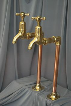 BRASS & COPPER TALL BIB TAPS IDEAL BELFAST KITCHEN SINK RECLAIMED FULLY…
