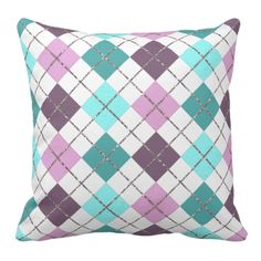 Trendy and pretty throw pillow. Beautiful aqua turquoise, teal, pink and violet purple squares, and faux silver glitter design. Vintage retro style diamonds motif pattern for the hip fashion trend setter, or nouveau art deco decor lover. Cute and fun girly girl's or mom's birthday present, Mother's day, or Christmas gift. Classy and chic pillow for the master or children's bedroom, college dorm, nursery, living or family room, cabin, beach house, cottage, vacation home or office.
