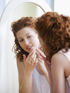 Find out everything you need to know about diagnosing, preventing, and treating every kind of acne blemish. Click through for tips on how to get rid of your pimples. | allure.com #PoppingPimples #GetRidOfPores Pimples On Buttocks, Pimples On Chin, Pimples On Forehead, Pimples Under The Skin, Hormonal Acne Remedies, Pimples Remedies, Natural Acne Remedies, Acne Blemishes, Acne Scars