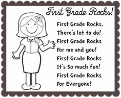 BACK TO SCHOOL poem (First Grade Rocks). Change the grade level to kindergarten!