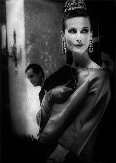 Mary Jane Russell  Harper's Bazaar 1960, dress by Luis Estevez, photo by Lillian Bassman