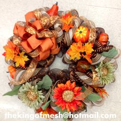 #Fall #Season is here, create your own mesh wreath or order yours at: thekingofmesh@hotmail .com - Introducing my newest #meshwreath from latest Fall collection. I got all my supplies at @MichaelsStores #craftssupplies #decomesh #custom #mesh #michaelsstores @thekingofmesh #homedecor #polydecomesh #sunflower #flowers #orange #burlap #ribbon #punkin