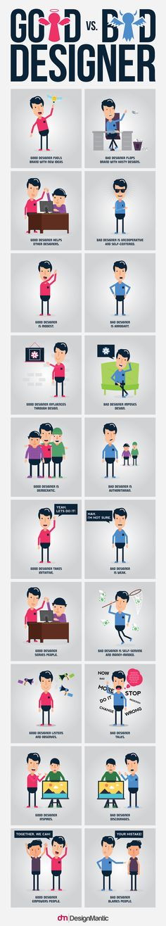 Good Designer vs. Bad Designer #Infographic #Designer