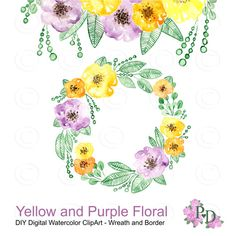 Watercolor Wreath border Yellow and Purple Flower PNG Digital clipart Hand painted frame wreath no background EasyPrintPD
