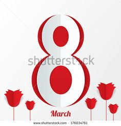 March 8 Women's Day card with roses on white background. Cut from paper. Vector illustration - stock vector